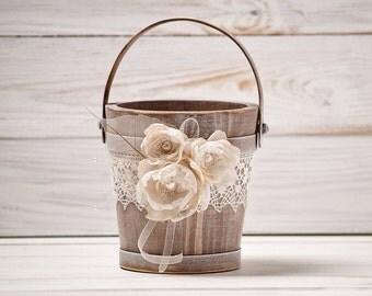 Rustic Flower Girl Basket Wedding Flower Basket Flower Girl Basket Wood Flower Basket Flower Girl Bucket Ivory and Burlap Wedding