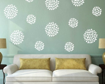 Wall Vinyl Decal Six Prosperous Flowers different sizes