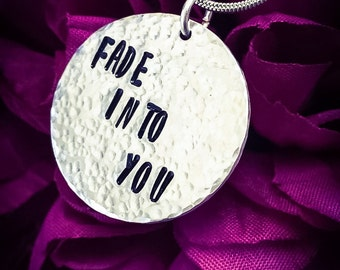 Fade Into You Hand Stamped Necklace. Textured Necklace, Love Necklace, Girlfriend Gift, Wife Gift, Nashville Necklace, Nashville Jewellery
