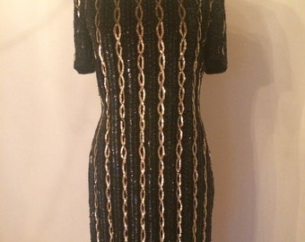 Black + Gold Sequin Dress | Size 6 | Adrianna Papell