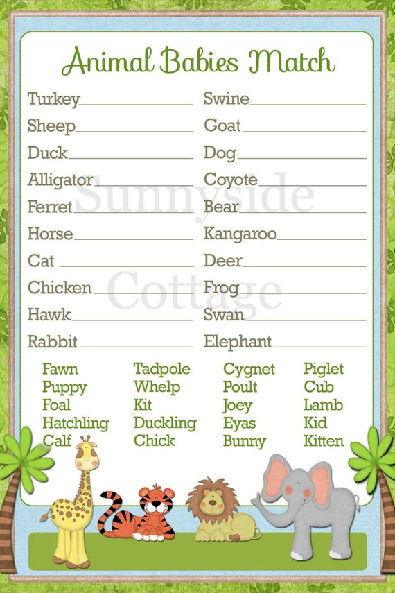 Handy image for baby animal matching game printable