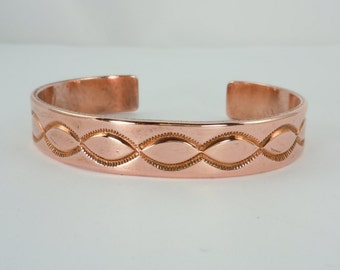 Native American Copper Cuff Bracelet, Navajo Made, Copper, Handmade, Stamped Design, Signed, TC