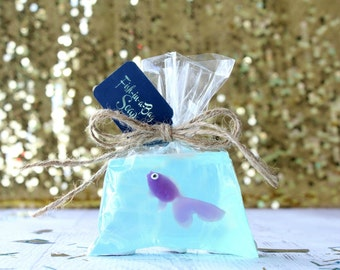 Purple Fish Soap - Fish In A Bag Soap - Kids Soap - Novelty Soap - Gag Gift - Birthday Soap - Pirate Party Favors - Mermaid  Party Favor
