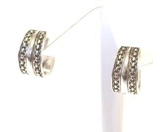 Sterling Silver Textured Open Hoop Earrings