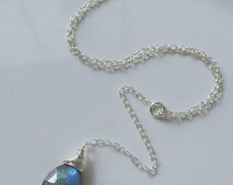 Labradorite Lariat Necklace, Sterling Silver Y Necklace, Lariat Necklace, Labradorite Jewelry
