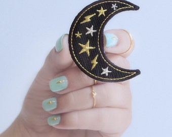 Moon Patch - Iron-On - Embroidered Applique – Black, Metallic Gold & Silver Crescent Moon, Star, Lightning Bolt