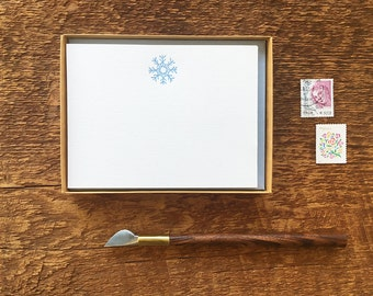 Snowflake Stationery, Boxed Set of 8 Letterpress Flat Notes, Boxed Stationery