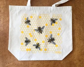 Honey Bee Tote Bag, Large Screen Printed Tote Bag