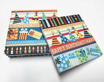 Happy Birthday Coasters - Birthday Decor - Birthday Decorations - Drink Coasters - Tile Coasters - Ceramic Coasters - Table Coasters