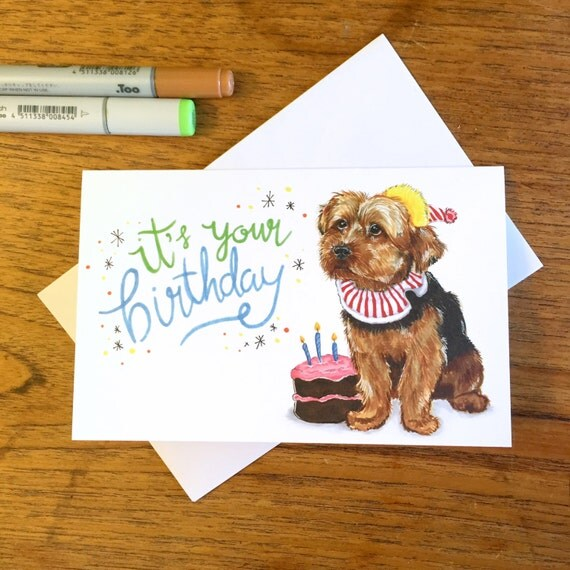 Yorkie Birthday Card Cute Birthday Hat By BeckyWarrenDesign