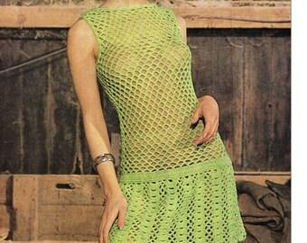 Crochet DRESS Pattern Vintage 70s Crochet Wedding Dress Pattern Crochet Open Work Dress Pattern Crochet Carolette Dress Pattern