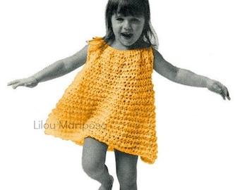 Crochet DRESS Pattern Vintage 70s Crochet Daughter Dresses Pattern Crochet Girl Dress Crochet Toddler Dress Crochet  Pattern Crochet