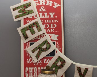 READY TO SHIP: Merry Christmas Banner in greens with red accents