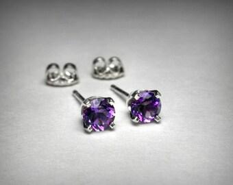 14K Amethyst Earrings Genuine AAA Amethyst Stud Earrings, 14K White Gold, Amethyst Jewelry, February Birthstone, 14k Yellow Gold Earrings