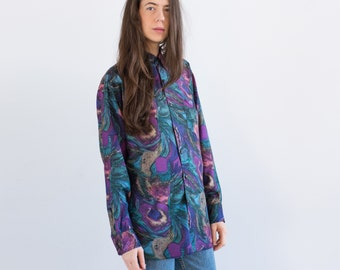 Vintage 60's funky acid print pure silk shirt / size large / oversized abstract boyfriend retro disco style top 612