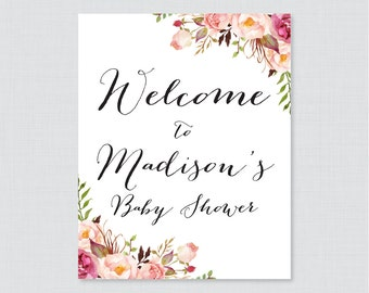 Pink Floral Baby Shower Welcome Sign Printable Personalized Shower Welcome Sign - Rustic Pink Flower Baby Shower Customized Sign - 0059