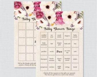 Boho Baby Shower Bingo Cards - Printable Blank Bingo Cards AND PreFilled Cards - Rustic Bohemian Feather and Flowers Baby Bingo Cards - 0043