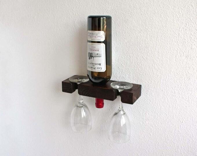 Single Wine bottle Holder, Wooden Gifts, Wall Wine Rack, Single Bottle Display, Bottle & Wine Glass Holder,