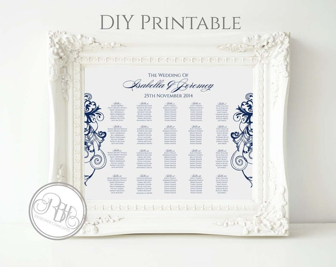 Navy & White Wedding Seating Chart- Nautical Navy White Swirl - Digital Files Provided DIY Printable-Helen in Navy Seating-Landscape