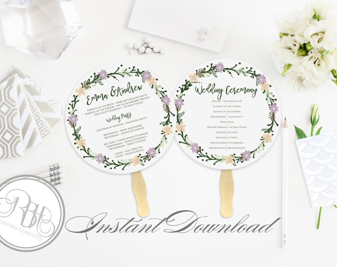 Rustic Wreath Wedding Program Fan Template -Instant DOWNLOAD - EDITABLE TEXT pdf Only - Rustic Wreath Round Fan -Olinda