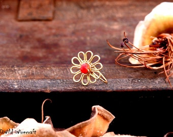 Red Flower Faux nose ring/Fake Nose Ring/Wire Wrapped jewelry/Handmade/Brass Nose Ring/Body Jewelry/Free Combined Shipping/Nose Clip on Art