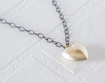 Vintage Puffy Gold Heart Necklace - Brushed Gold Heart Pendant - Valentine's Necklace - Oxidized Silver - Black Silver Chain