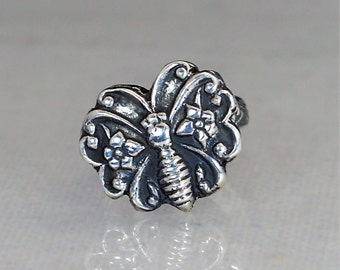 Butterfly Ring, Statement Ring, Sterling Silver Ring, Boho Butterfly Ring, Butterfly Jewelry, Floral Butterfly, Sturdy Ring, Bohemian Ring