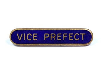 Vintage 1950s Vice Prefect pin, vice prefect badge, blue enamel school badge, school uniform, goldtone pin, royal blue enamel