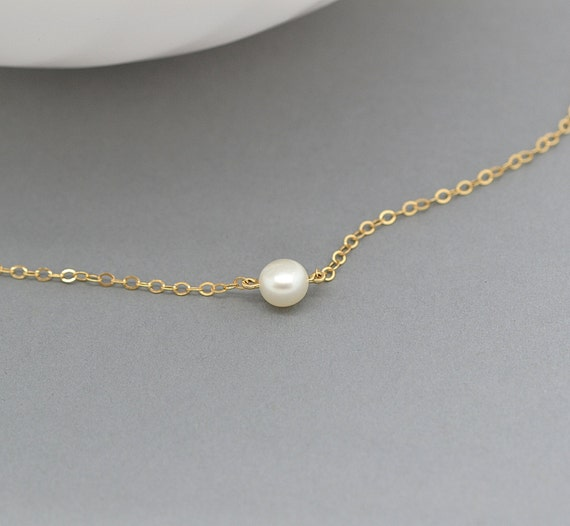 dainty pearl necklace single pearl freshwater pearl by
