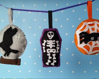 Felt Halloween Garland Deoration 7,8,9  PDF-Digital Download-DIY PDF Felt Sewing Pattern