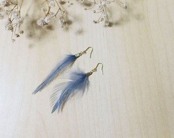 Beautiful Grey Feather Earrings with Gold Ear Hooks + FREE shipping