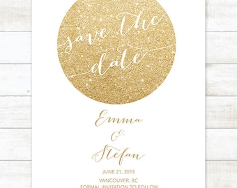 white gold save the date invitation, white gold glitter save the date invite, customizable save the date announcement