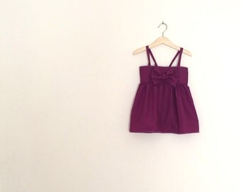Baby Girls Purple Dress | Bow Front Sundress | Baby Sundress | Purple Dress with Straps