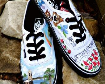 Bride's Love Story Wedding Shoes, Custom Hand Painted Shoes, Unique Wedding Shoes, Custom VANS, Wedding Flats, Painted Wedding Shoes