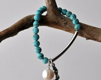 Mermaid, Pearl and Turquoise Bracelet