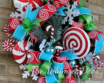 Christmas Wreath, Peppermint Candy Wreath, Holiday Wreath, Evergreen Wreath, Candy Christmas, Candy Cane Wreath, Turquoise Ribbon Wreath,
