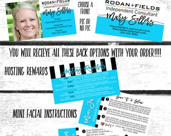 Rodan + Fields Business Card, Mini Facial Back, Referral Program Back, Hosting Reward Back, Product Back, Rodan + Fields Business