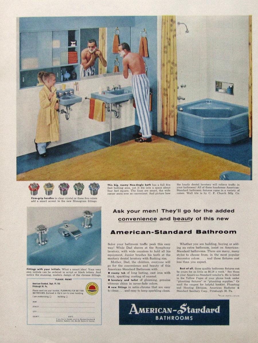 1955 American Standard Bathroom Ad Neo Angle Corner Bathtub
