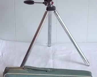 Vintage VELBON Auto 8 Telescopic Chrome Camera Tripod C.1970s, Made in Japan