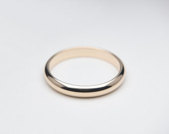 14K Solid Gold Ring, Plain Gold Ring Band. Yellow Gold, Simple Wedding Band. Choose Thin or Wide. Custom Size Handmade to Order!