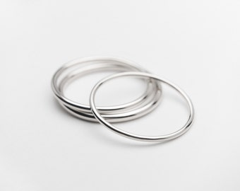 14K White Gold, Thin Gold Ring Band, Plain White Gold Ring Band, Handmade to Order!