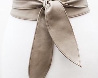 Taupe Grey Leather Tulip tie Obi Belt | Leather tie belt | Real Leather Belt| Handmade Corset Belt | Plus size belts