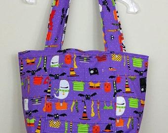 Large handmade tote bag in  Halloween Happy - Trick or Treat - Fully reversible