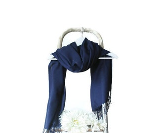 Dark Blue Shawl, Navy Blue Wrap, Wedding Shawl, Translucent Cotton Scarf, Bridal Shawl, Bridesmaids Gift, Soft Lightweight Fine Pashmina