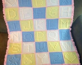 ABC Blanket, Crochet Baby Blanket, Gender Neutral Blanket, Gifts For Babies, Alphabet Baby Blanket, Alphabet Nursery Theme, ABC Nursery