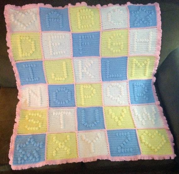 ABC Blanket Crochet Baby Blanket Gender Neutral Blanket