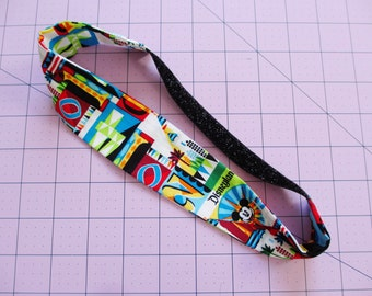 Disneyland Colorful Print Black Glitter Elastic Headband
