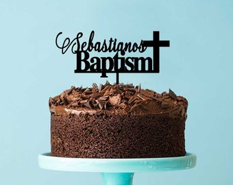 Religious Baptism & Christening Acrylic Cake Topper - Custom Name Baptism with Cross (ARC1614) MADE IN Australia