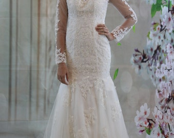 Sweetheart long sleeves white lace court train mermaid see through back wedding dress