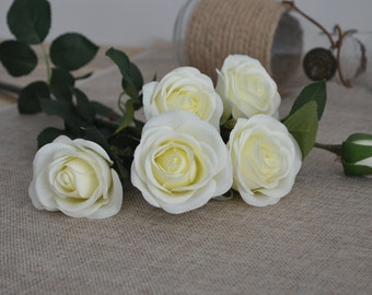 Ivory Real Touch Silk Roses Spray DIY Wedding Centerpieces Silk Bouquets-5 flowers each spray